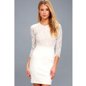 """Lulus """"She Knows"""" Floral Lace Bodycon Mini Dress"""